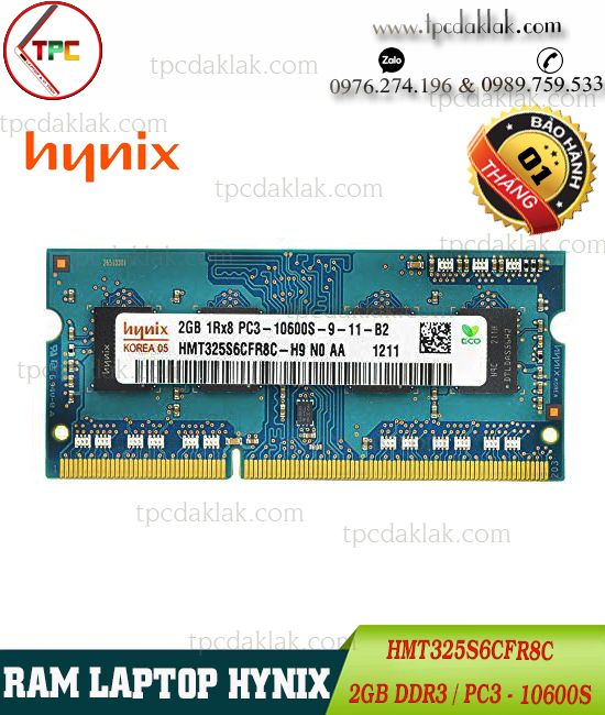 Ram Laptop Hynix 2GB PC3-10600 204 PIN | Ram Laptop Hynix 2GB DDR3 Buss 1333 - HMT325S6CFR8C