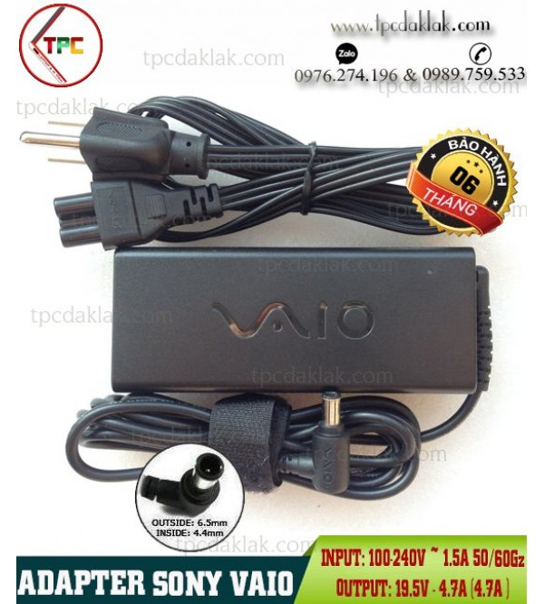 Sạc Laptop Sony Vaio 19.5V - 4.7A  - 90W|Adpater Sony Vaio 19.5V - 4.7A - 90W Tips 6.5 x 4.4mm