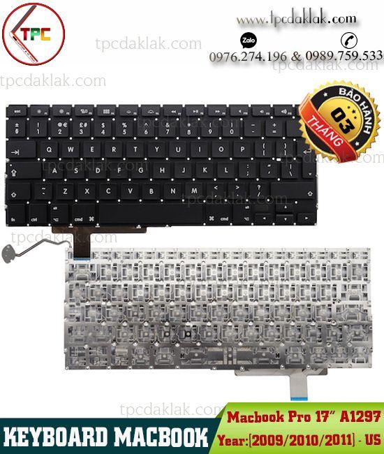 "Bàn phím Macbook Pro 17"" A1297 2009/ 2010/ 2011 | Keyboard Apple Macbook Pro 17-Inch A1297"