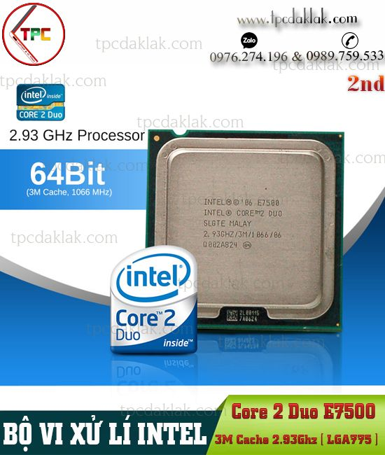 Bộ xử lý Intel® Core 2 Duo E7500 | CPU Intel® Core 2 Duo Processor E7500 ( 3M Cache, 2.93GHz, LGA775 )