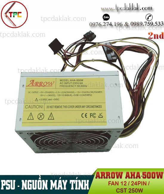Nguồn máy tính ( PSU ) Arrow AHA-500W FAN 12 - 24PIN ( Công suất thực 250W ) | POWER SUPPLY