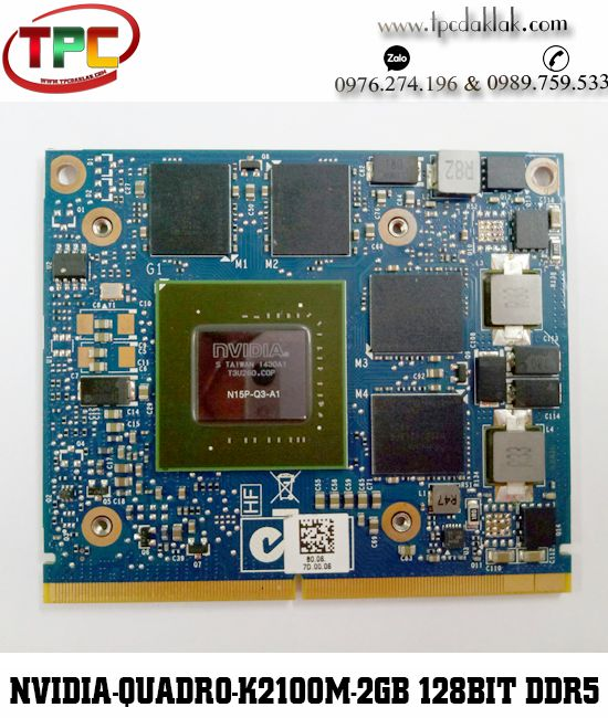 CARD VGA LAPTOP - NVIDIA QUADRO K2100M - 2GB - 128BIT - DDR5 | CARD VGA ĐỒ HỌA LAPTOP