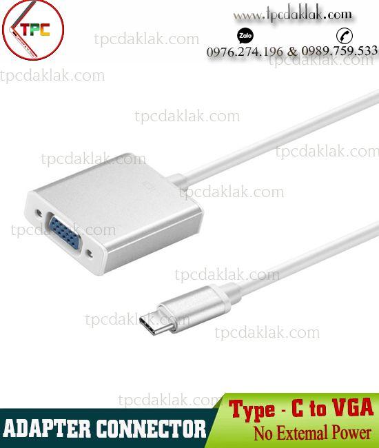 Cáp chuyển đổi USB Type C Port  ( Chuẩn 3.1 ) - VGA Port | Adapter Connector Type-C to VGA Port [ OEM ]