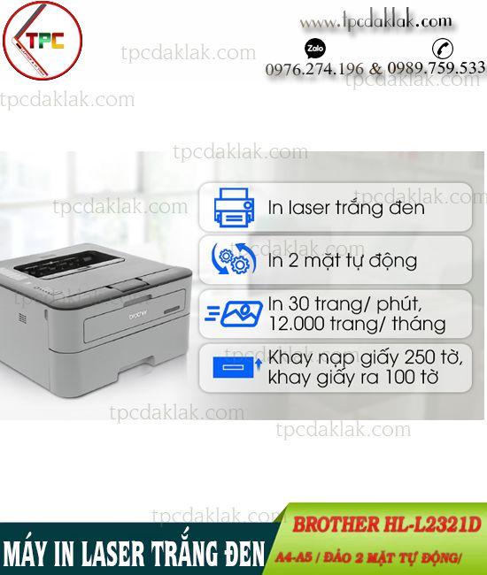 Máy In Laser Trắng Đen - Hai Mặt Brother HL-L2321D - Printer Laser Brother HL-L2321D