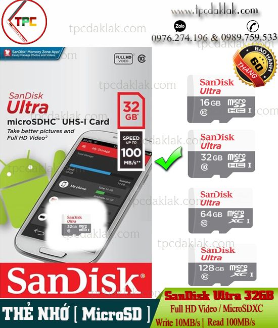 MicroSD SanDisk Ultra 32GB Class 10 ( Write 10MB/s |Read 100MB/s ) - Thẻ nhớ Camera