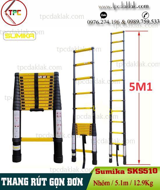 Thang nhôm rút gọn Sumika SKS 510 - Thang đơn Sumika Sks 510 - 5.1m, 12.9Kg  ( Sơn tĩnh điện )
