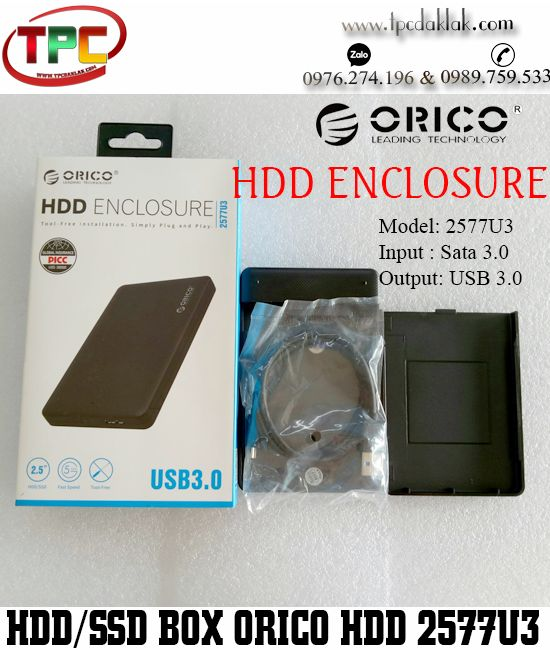Box Ổ cứng - Hộp đựng ổ cứng - HDD BOX ORICO 2.5 INCH SATA3.0 To USB 3.0 5Gb/s - Model 2577U3