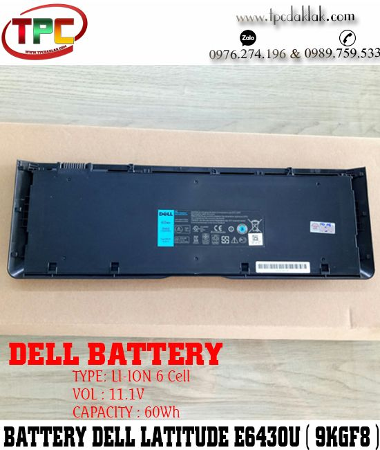 Pin Laptop Dell Latitude E6430U - 9KGF8, 6FNTV, 7HRJW, XX1D1 | Battery Dell E6430U UltraBook