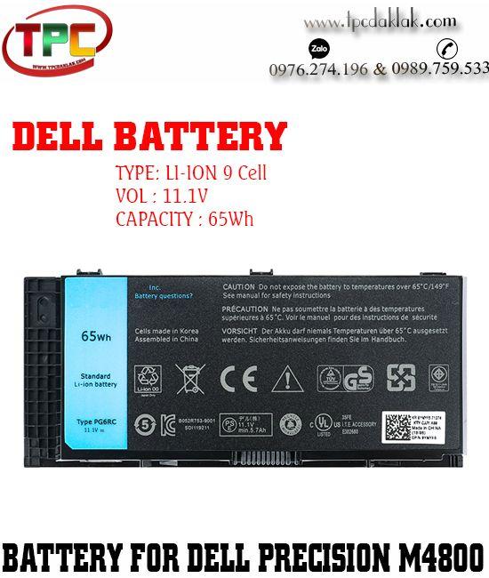 Pin Laptop Dell Precision M4800 65Wh - Battery Laptop Dell Precision M4700 - M4600 - M6800