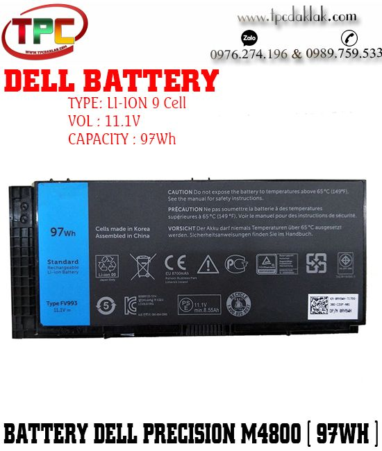 Pin Laptop Dell Precision M4800 97Wh - Battery Laptop Dell Precision M4700 - M6600 - M6700
