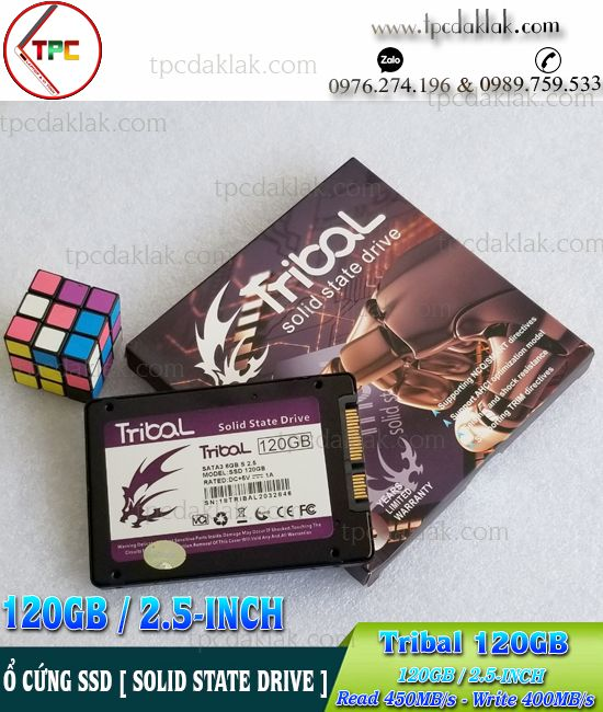 "Ổ cứng Laptop - SSD Tribal 120GB 2.5"" Sata 3 6GB | SSD 120GB Tribal Read 450Mb/s - Write 400Mb/s"