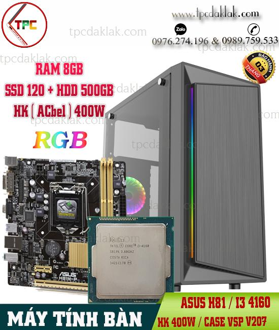 Máy Tính Bàn | Manboard Asus H81, Core I3 4160, Ram 8GB, SSD 120, VGA 2GB (  CASE VSP V207 )
