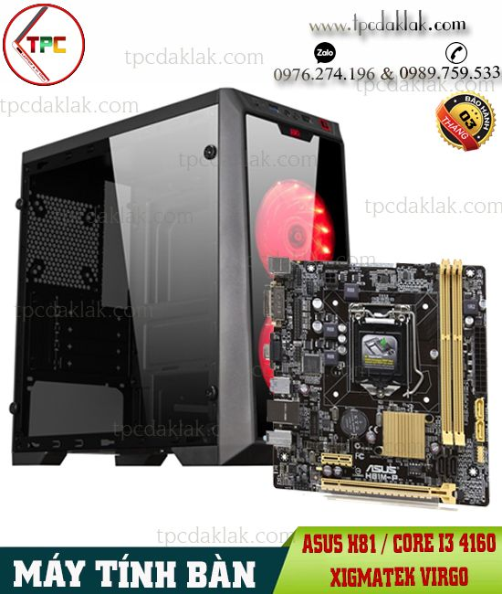 Máy Tính Bàn | Manboard Asus H81M-P, CPU Core I3 4160, Ram 8GB PC3, SSD 120, VGA 2GB ( RGB FAN )