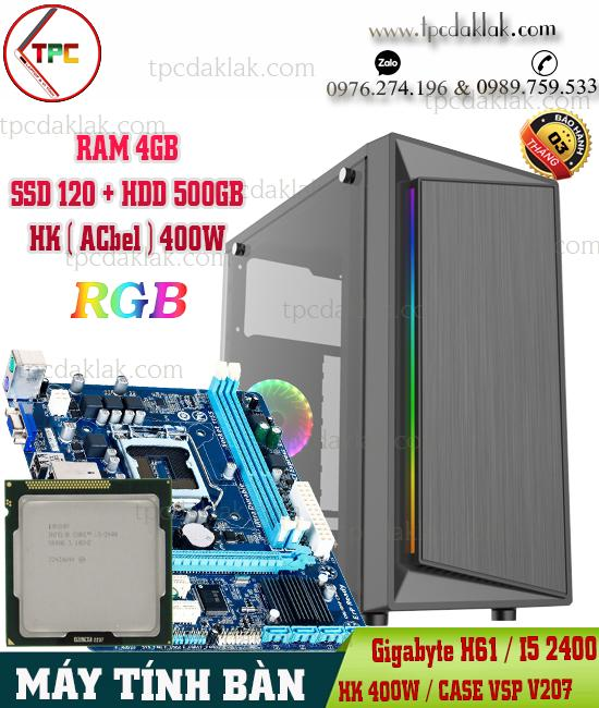 Máy Tính Bàn | Manboard Gigabyte H61 / I5 2400 / Ram 4GB / SSD 120GB / HDD 500GB / Case VSP V207