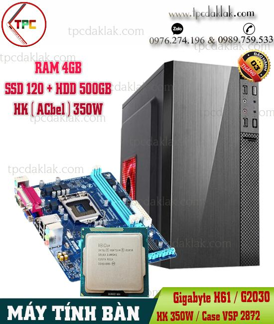 Máy Tính Bàn | Manboard Gigabyte H61 / G2030 / Ram 4GB / SSD 120GB / HDD 500GB / Case VSP 2872
