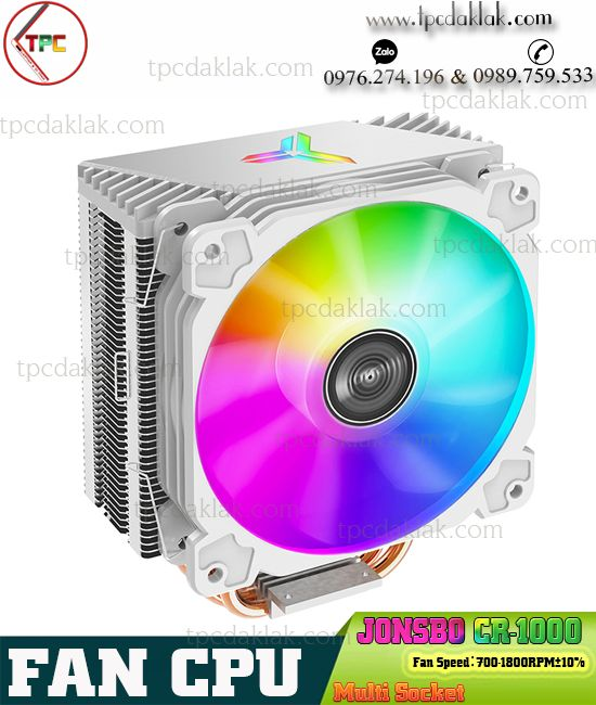 Tản nhiệt khí Jonsbo CR-1000 RGB  White| Fan - Quạt tản nhiệt Máy Tính - Tương thích nhiều Socket