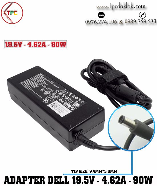 Sạc Laptop Dell Chân Kim 19V - 4.62A - 90W | Adapter Dell 19.5V - 4.62A - 90W [ 7.4 x 5.0mm  ]