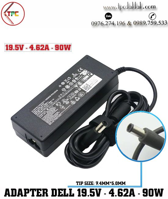 Sạc Laptop Dell Inspiron 15 5557, 5547, 5548 ( OEM Design ) | Adapter 19.5V - 4.62A - 90W (  7.4 X 5.0MM )