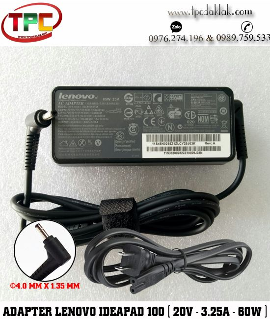 Sạc Laptop Lenovo Ideapad 20V - 3.25A - 60W Original | Adapter Lenovo Ideapad ( 4.0mm x 1.7mm )