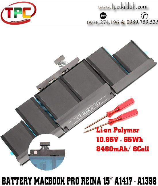 "Pin Macbook Pro Retina 15"" 2012 - 2013 | Battery For Macbook Pro Retina 15"" A1417, A1398 Series"