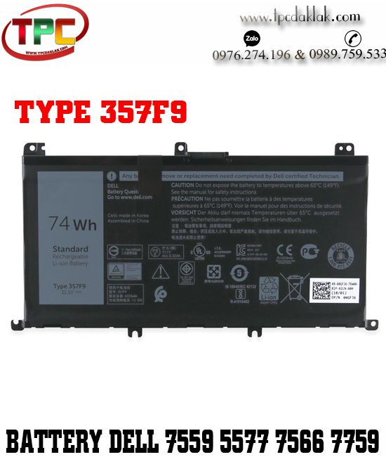 Pin Laptop Dell Inspiron 15 7000 | Battery Dell Inspiron 15 7559 - 7557-5576-5577-7567-7566-7759