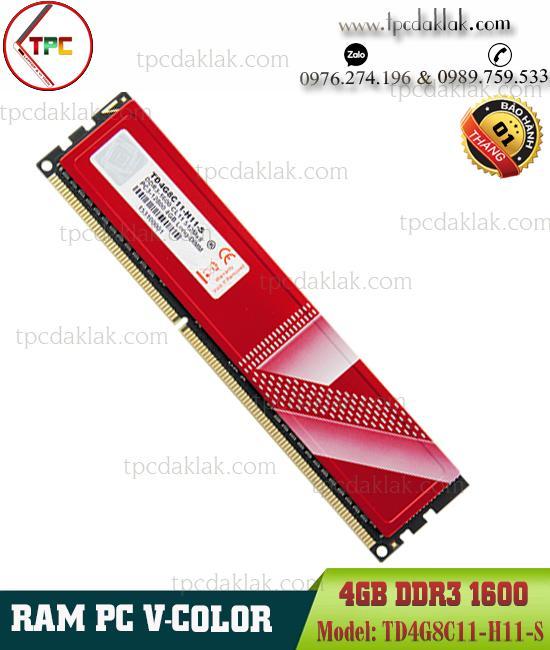 Ram PC ( Desktop ) | Ram Máy Vi Tính V-Color 4GB ( PC3 - 12800 ) DDR3 1600Mhz | TD4G8C11-H11-S