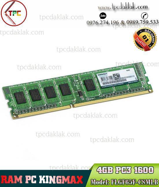 Ram PC ( Desktop ) | Ram Máy Tính Bàn Kingmax 4GB ( PC3 - 12800 ) DDR3 1600Mhz | FLGF65F-C8MLB
