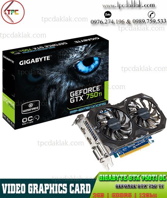 Card màn hình Gigabyte GTX 750TI OC 2GB D5 128BIT| GTX-750TI 2 FAN GDDR5 GV-N75TOC-2GI