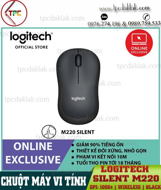 Chuột Máy Tính, Laptop Logitech Silent M220 [ Wireless / Black  ] | Chuột Yên Tĩnh Giảm 90% Tiếng Ồn