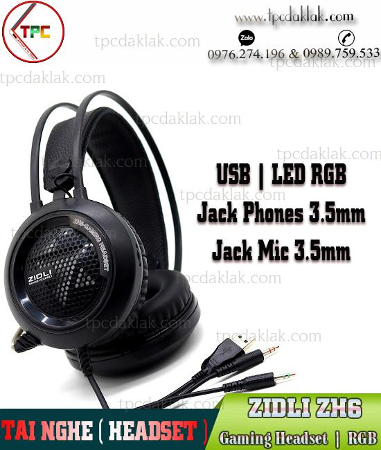Tai nghe ( Headset ) ZIDLI ZH6 ( USB LED RGB, Jack 3.5mm Phones - Micro ) Gaming | Laptop & Máy Tính
