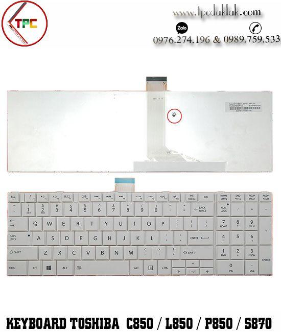 Bàn phím Laptop Toshiba Satellite C850, C855, C870, L850, L855, L870, l950, P850, S850, S875 ( Trắng )
