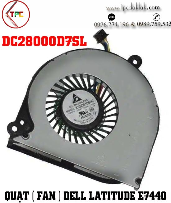 Quạt tản nhiệt [ Fan CPU ] Laptop Dell Latitude E7440 - Fan CPU Laptop Dell E7440 DC28000D7SL