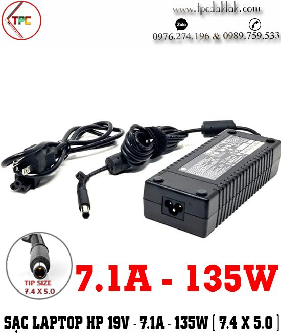 Sạc Laptop HP 19V - 7.1A - 13W  Chân Kim | Adapter Laptop HP 19V - 7.1A - 13W [ Tip Size 7.4 x 5.0 mm ]