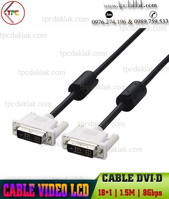 Dây cáp ( Cable ) Màn hình DVI-D 1.5m , HD 1080p, 8Gbps | Cable Video LCD DVI-D 1.5M 1080p 8Gbps