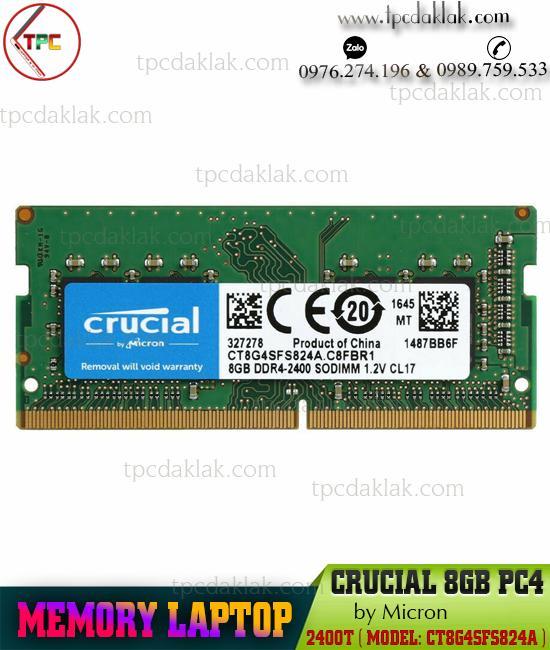 RAM LAPTOP CRUCIAL ( MICRON ) 8GB PC4-2400T |MEMORY LAPTOP 8GB PC4-2400T - CT8G4SFS824A
