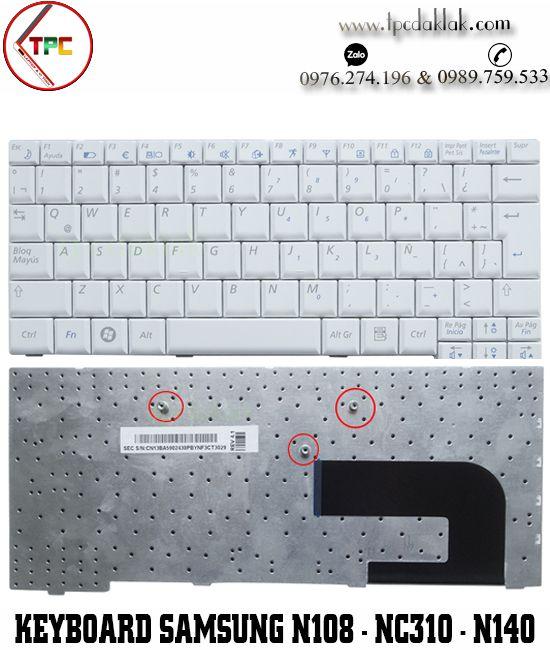 Bàn phím Laptop Samsung Netbook N108, N110, N128, N140, NC10, NC310, ND10, NP10 ( Màu Trắng )
