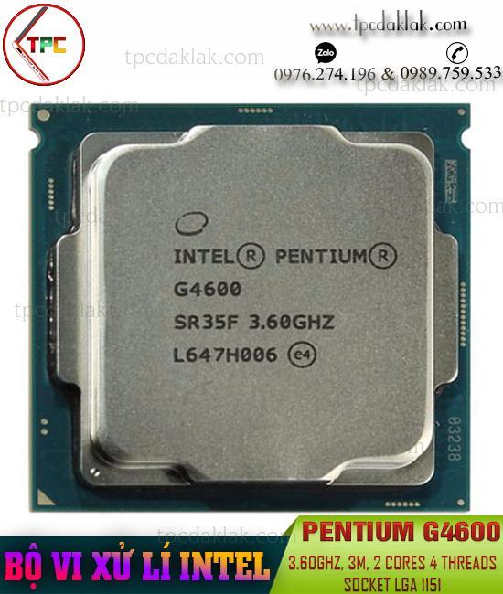 Bộ xử lý ( CPU ) Intel® Pentium G4600 ( 3.60GHz, 3M Cache, 2 Cores 4 Threads, Socket LGA 1151 )