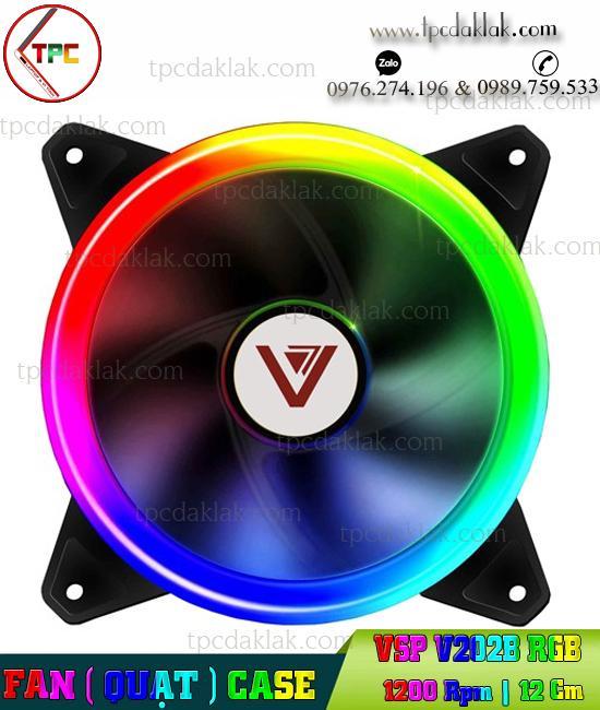 Quạt Tản nhiệt Case Led RGB 2 mặt VSP V202B 1200RPM, 12cm | Fan Case VSP V202B  ( Tản Nhiệt Case )