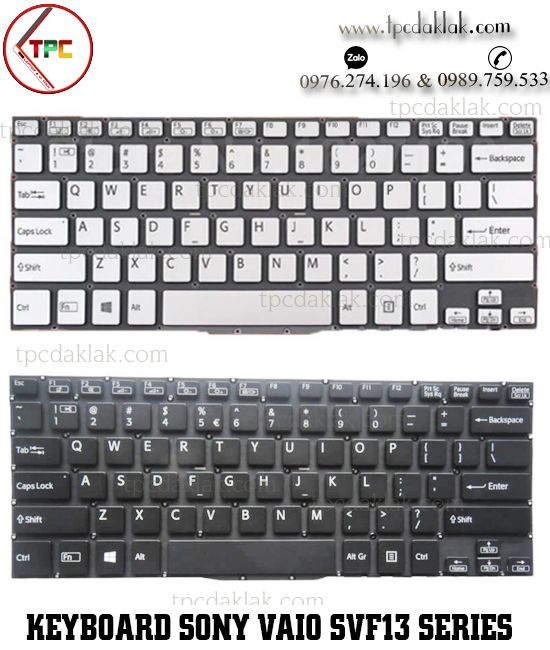 Bàn phím Laptop Sony Vaio SVF13 Series - SVF13A, SVF13N1A4E, SVF13N27PG,  ( Black / Sliver )