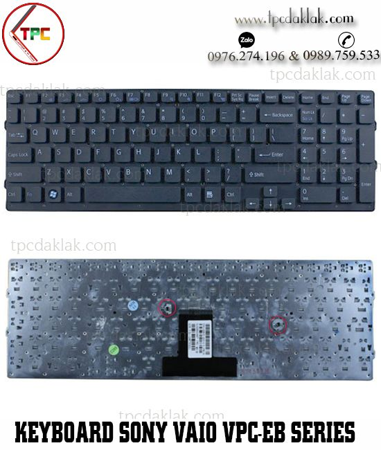 Bàn phím Laptop Sony Vaio VPC-EB, VPC-EBM1E, VPC-EB1Z1E | MP-09L23, V111678A ( Màu Đen )