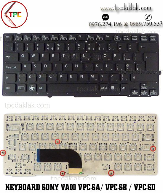 Bàn phím Laptop Sony Vaio VPC-SA / VPC-SB / VPC-SD | VPC-SA4AJ , VPC-SD48EC, NSK-SD0BF ( Màu Đen )