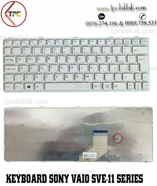 Bàn phím Laptop Sony Vaio SVE-11, SVE-11115ECP, SVE-11115ECW | 149036961ES ( Màu Trắng )