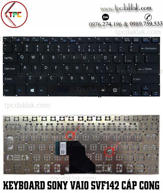 Bàn phím Laptop Sony Vaio SVF142A23T, SVF1432ACXW, SVF143A1QT ( Cáp Cong - Màu Đen )