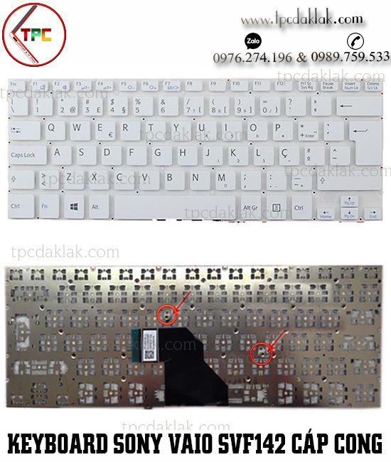 Bàn phím Laptop Sony Vaio SVF142A23T, SVF1432ACXW, SVF143A1QT ( Cáp Cong - Màu Trắng )