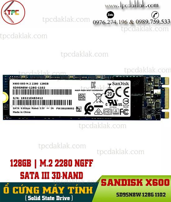 Ổ cứng SSD M.2 2280 NGFF SATA III 3D-NAND 128GB X600| SSD X600 Sandisk SD9SN8W-128G-1102