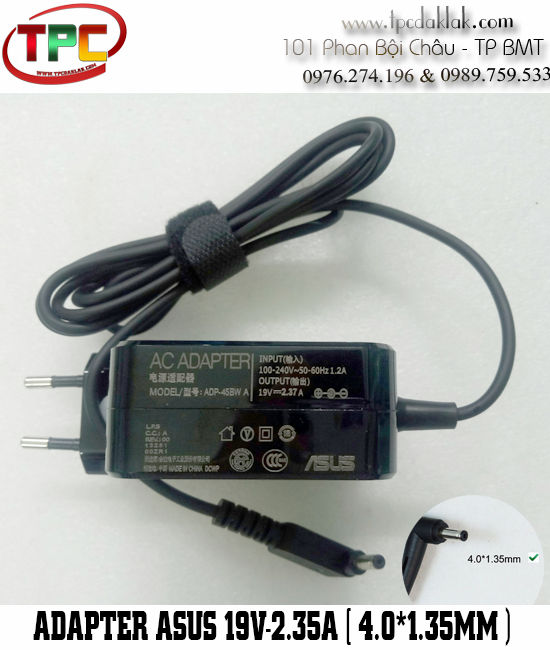 Sạc Laptop Asus UX32V 19V-2.37A  Original| Adapter For Asus 19v - 2.37A - 45W ( 4.0 x 1.35mm )