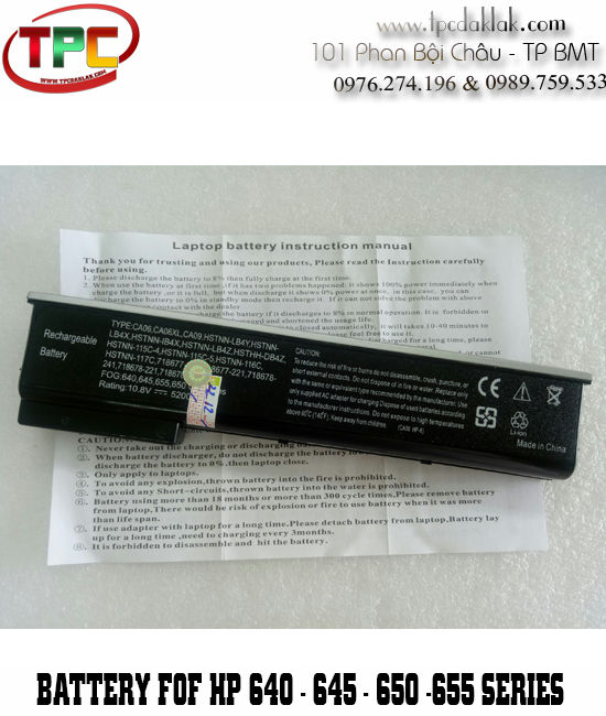 Pin Laptop Hp ProBook 640 G1, 645 G1 - 650 G1, 655 G1 | Battery For HP 640 - 645 - 650 - 655 Series