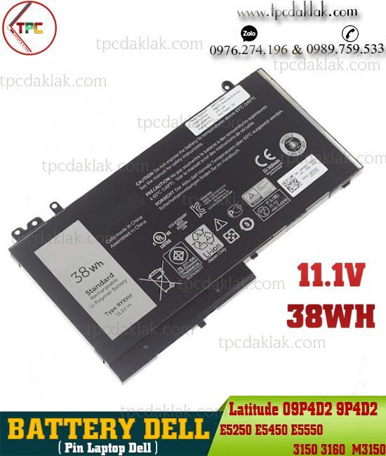Pin Laptop Dell Latitude 12 5000 E5250, E5450, E5550, 11 3150, 3160,  M3150 Series 09P4D2 9P4D2 11.1V 38WH