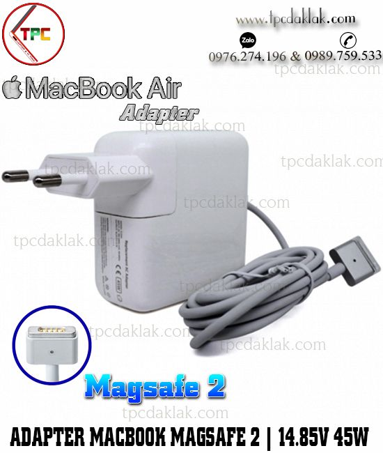 Sạc Macbook Air ( 13-inch, Early 2015 ) A1466 EMC 2925  | Adapter Magsafe 2 14.85w 3.05A 45W