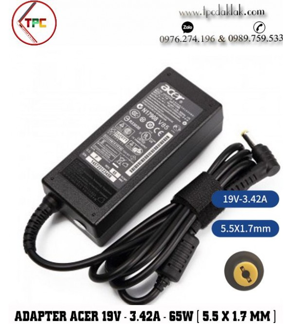 SẠC LAPTOP ACER 19V-3.42A  65W ( Connector 5.5 X 1.7 MM ) | Adapter Laptop Acer 19v-3.42A  65W